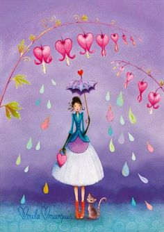 Illustration by Mila Marquis Art And Illustration, Illustrations, Decoupage, Art Fantaisiste, Art Mignon, Photo Deco, Art Carte, Whimsical Art, Belle Photo
