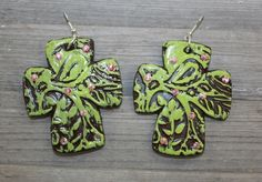 Paint Me Paisley Cross Clay Earrings in Lime $29.95 www.gugonline.com