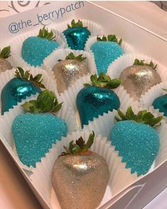 #strawberries #glitter (blue chocolate apples)