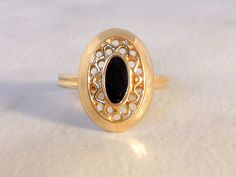 Sarah Coventry Gold Onyx Rhinestone Adjustable Ring    Size 6-8 by GemstoneCowboy on Etsy