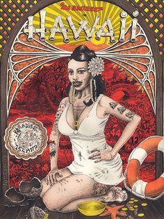 Adam Latham, Girls, Art, Drawings, Illustration, Tropical, Exotica, Hawaii