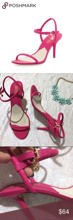 """Michael Kors Carlene Naked Sandal Adorable hot pink sandals by Michael Kors! These delicate looking heels are leather upper with a rubber sole and have an adjustable slingback strap with a logo charm. 3"""" heel. These have been worn but they still have plennnnty of life left in them! Michael Kors Shoes Sandals"""