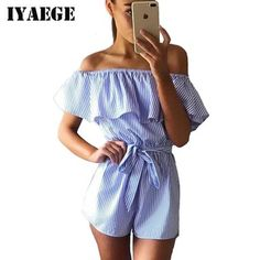 d6e2220c7a IYAEGE Sexy Ruffles Off Shoulder Summer Beach Playsuits Women Jumpsuits  Casual Striped Short Romper Overalls Outfit