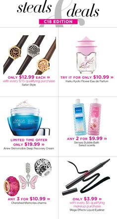 Campaign 18 Steal and Deals. Submit by Delivery: Shops, Avon Representative, Bubble Bath, Bath And Body, Bubbles, Fragrance, Skin Care, Cream, Makeup