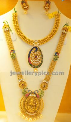 Gold Peacock necklace and long haram bridal set - Latest Jewellery Designs