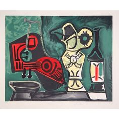 Pablo Picasso - Mandoline, Cruche et Flacon, Lithograph on Arches Paper, Picasso Cubism, Picasso Paintings, Oil Paintings, Pablo Picasso Death, Mandoline, Graphic Prints, Art Prints, Arches Paper, Spanish Artists