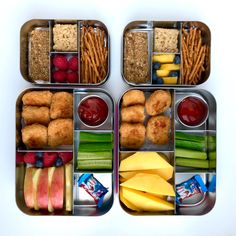 Chicken Nuggets + Ketchup and Mustard + Cucumber Slices + Apple + Pretzels Easy Healthy Meal Prep, Healthy Lunches For Kids, Kids Meals, Healthy Snacks, Lunch Box Recipes, Lunch Snacks, Baby Food Recipes, Lunch Kids, Snack Box