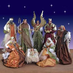 Life Size Nativity Set in resin and fabric - 5 ft. scale 9 piece Item #60552 Our Price: $2,599.00 Life Size Nativity Set with handcrafted fabric and resin Nativity figures. Stunning Nativity for inside your Church. These premium quality Nativity figures have soulful resin faces and hands, beautiful fabric clothes and amazing metal decorations.  The straw is simulated and not natural material.  A perfect choice for your Church, business or home.  Overseas shipping available.