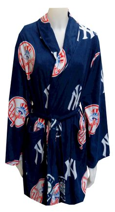 New York Yankees Ladies Fleece Robe Calling all fans of the Bronx Bombers! This cozy fleece robe for women features the classic New York Yankees logo on a blue background. Robe is machine washable and has two pockets and an interior tie. This robe is perfect for lounging or wearing after the shower. $40