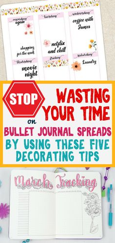 Stop wasting your time making bullet journal spreads. These five tools will help save you time and keep your bullet journal more beautiful than ever. Get ideas and inspiration for things you should keep for simple and gorgeous decorative bujo!