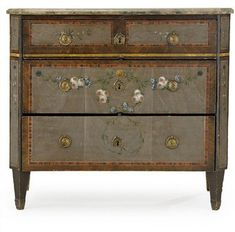 Chest of drawers by Nils Johan Asplind sold for about 46000 Designers Pick Their Favorite Gray Paints Shabby Chic Antiques, Shabby Vintage, Swedish Design, Scandinavian Design, Hand Painted Furniture, Painting Furniture, Swedish Interiors, Scandinavian Furniture, Traditional Decor