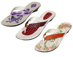 Indistar Womens PU Krocs Super Comfortable Flip Flop Set Of 3 Pair 8 PurpleBrownOrange *** You can find more details by visiting the image link.