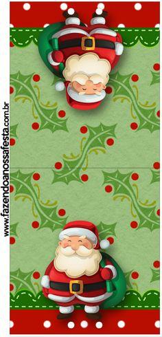 Convite Pirulito Natal Papai Noel e Boneco de Neve: