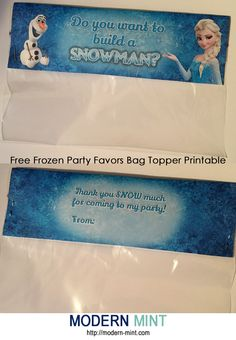 Free Frozen Party Favors Printable - Bag Toppers