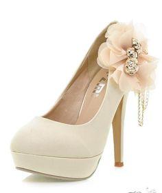 Elegant Stiletto Heels Close Toe Women Prom Shoes With Flower