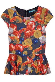 Alice + Olivia - Chelsea floral-print stretch-jersey peplum top. Love the unusual color combination! #commandress