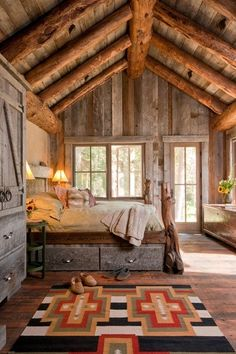 I like this sunny cabin bedroom. For rustic cabin decor for your cabin retreat, you will find a wonderful variety at Lights in the Northern Sky. Style At Home, Sweet Home, Cabin In The Woods, Cabins And Cottages, Log Cabins, Mountain Cabins, Rustic Cabins, Rustic Homes, Mountain Homes