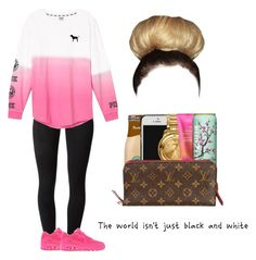 """""""Pink❤"""" by chocolate-drop29 ❤ liked on Polyvore featuring J Brand, Victoria's Secret and NIKE"""