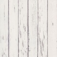 Distressed white wood wallpaper. Rustic appeal.
