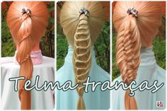 Rabos de Cavalo com tranças, cute back to school hairstyles for everyday ponytails - Telma tranças - YouTube