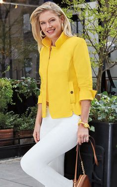 13290 Equestrian Stretch Cotton Suzanne Jacket One of our classic styles, this new Sunflower color has us falling in love all over again! Buy it online or with your nearest store or representative! Classy Business Outfits, Classy Work Outfits, Casual Outfits, Blazer Fashion, Suit Fashion, Work Fashion, Casual Work Wear, Corporate Wear, Over 50 Womens Fashion