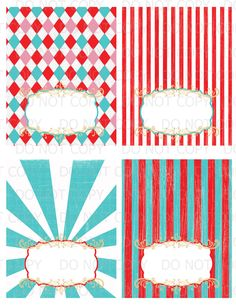 Printable DIY Vintage circus carnival Tent Food Labels- 4 designs blank. $4.00, via Etsy.