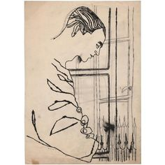 Andy-Warhol-+Portrait+of+a+Man+Looking+out+of+the+Window-+primeiros+desenhos,+1951.jpg 600×600 ピクセル