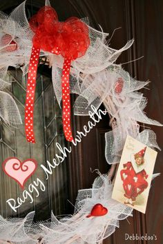 #Valentine's mesh wreath. How to #diy one the easy way!