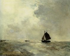 Johan-Hendrik-Weissenbruch-Sailing-Boat-in-Choppy-Seas