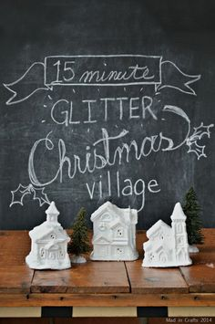 15 Minute Mini Christmas Village Winter Christmas, All Things Christmas, Vintage Christmas, Christmas Holidays, Christmas Crafts, Christmas Decorations, Christmas Ornaments, Christmas Ideas, Frugal Christmas