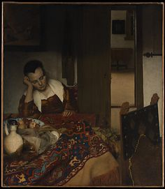 A Maid Asleep  Johannes Vermeer  (Dutch, Delft 1632–1675 Delft)  Date: 1656–57 Medium: Oil on canvas Dimensions: 34 1/2 x 30 1/8 in. (87.6 x 76.5 cm) Classification: Paintings Credit Line: Bequest of Benjamin Altman, 1913 Accession Number: 14.40.611