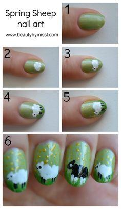 Sheep nail art tutorial via @beautybymissl