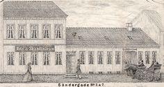 Tegning. Søndergade nr. 5 og 7, Hotel de Skandinavien. Senere Giersings Realskole.