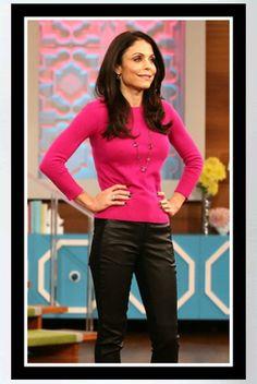 876698e385fad Buy it: Bethenny Frankel's Pink Sweater, Black Leather Pants, Heels – Seen  On