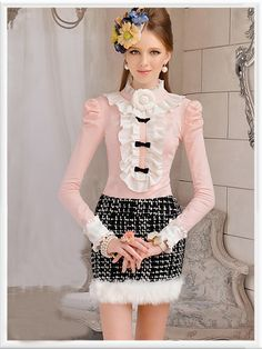 Morpheus Boutique  - Pink White Bow Chiffon Ruffle Shoulder Layer Shirt , $59.99 (http://www.morpheusboutique.com/pink-white-bow-chiffon-ruffle-shoulder-layer-shirt/)