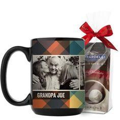 Simple Plaid Mug, Black, with Ghirardelli Premium Hot Cocoa, 15 oz