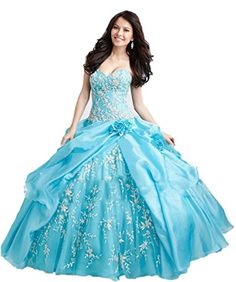 CoCoGirls Women Princess Ball gown Embroidery Ruched Quin…