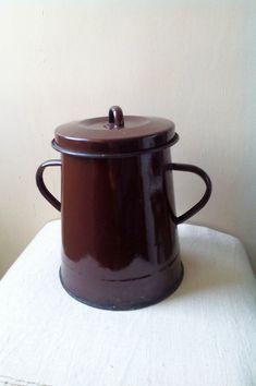 Kitchenalia - envase de alimento de esmalte marrón grande vintage con tapa - esmalte-