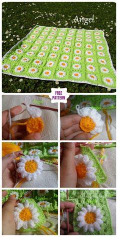 DIY Crochet Wild Daisy Flower Blanket Free Crochet Pattern - Video