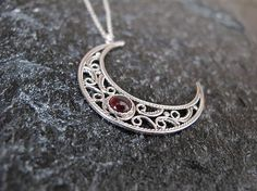 Jewelry Silver necklace Moon necklace Israel by MorSilverJewelry