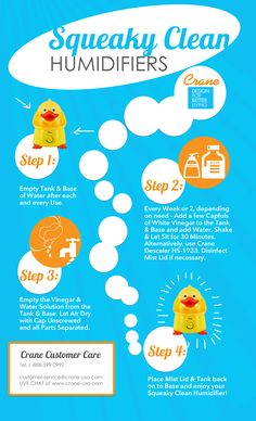 @Crane USA Humidifier #Infographic / #Instructographic - Cleaning & Maintenance