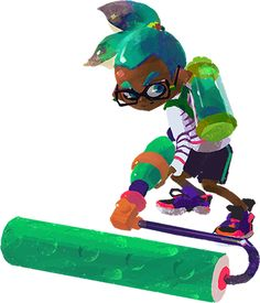 File:Inkling with paint roller.png - Inkipedia, the Splatoon wiki Character Concept, Character Design, Splatoon 2 Game, Fanart, Cute Art, Pokemon, Anime, Animation, Drawings