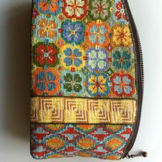 My cross-stichting cosmetic purse