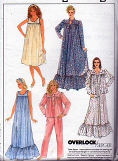 Simplicity 8310, Misses Sizes 30 to 46 Inch Bust, Nightgown, Bathrobe, Bed Jacket and Pajamas. Knee Length Nightie or Floor Length, Vintage by OnceUponAnHeirloom on Etsy