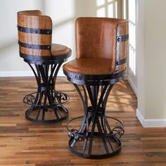 Tequila Barrel Stave Stool with Leather Seat at Wine Enthusiast - $625.00