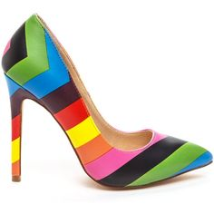 The BRIGHT SIDE Rainbow Pump at FLYJANE ($46) ❤ liked on Polyvore featuring shoes, pumps, retro pumps, rainbow shoes, bright pumps, bright shoes and multi colored pumps