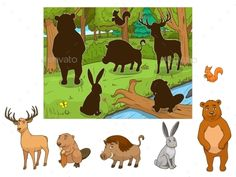 Buy Forest Cartoon Animals with Shadows Vector by AlexanderPokusay on GraphicRiver. Forest cartoon animals with shadows educational game vector llustration Spy Games For Kids, Animal Activities For Kids, Preschool Learning Activities, Preschool Printables, Book Activities, Forest Cartoon, Fall Arts And Crafts, Preschool Colors, Kids Education