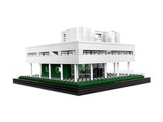Recreate the French Villa Savoye within a building set featuring the iconic details of this modernist marvel famous for blending with nature!