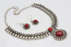 Silver Finish Tribal Choker Necklace