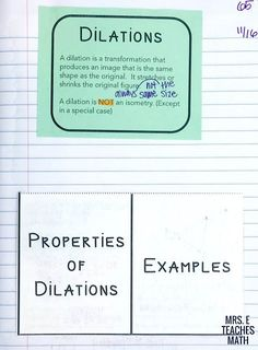dilations foldable for geometry interactive notebooks Geometry Interactive Notebook, Teaching Geometry, Interactive Notebooks, Teaching Math, Maths, Geometric Transformations, Class Notes, Secondary Math, Algebra 1